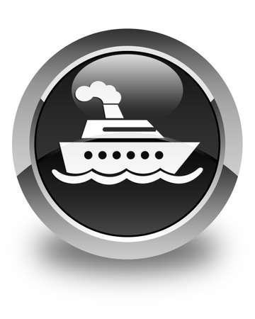 cruise ship icon: Cruise ship icon glossy black round button Stock Photo