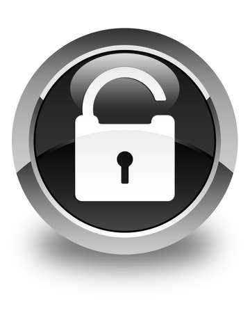 Unlock icon glossy black round button