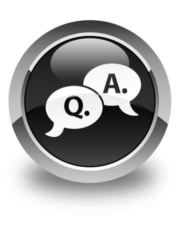 asking: Question answer bubble icon glossy black round button