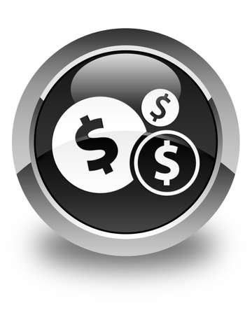 dollar sign icon: Finances (dollar sign) icon glossy black round button