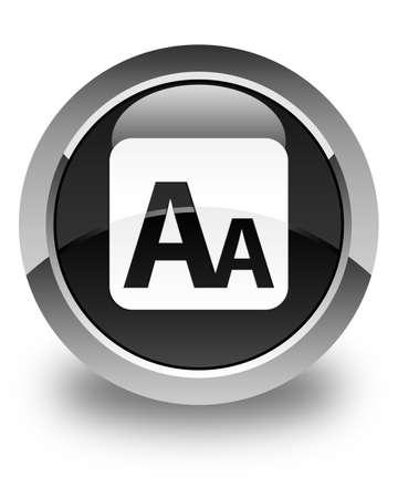 box size: Font size box icon glossy black round button