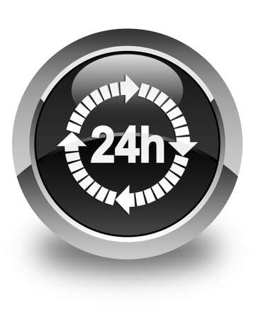 twenty four hours: 24 hours delivery icon glossy black round button