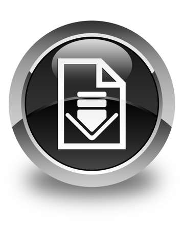 page down: Download document icon glossy black round button Stock Photo