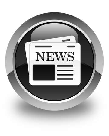 current events: Newspaper icon glossy black round button Stock Photo