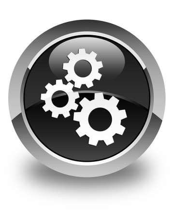 glossy button: Gears icon glossy black round button Stock Photo