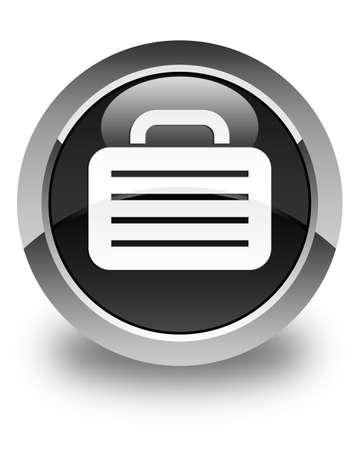office stuff: Bag icon glossy black round button Stock Photo