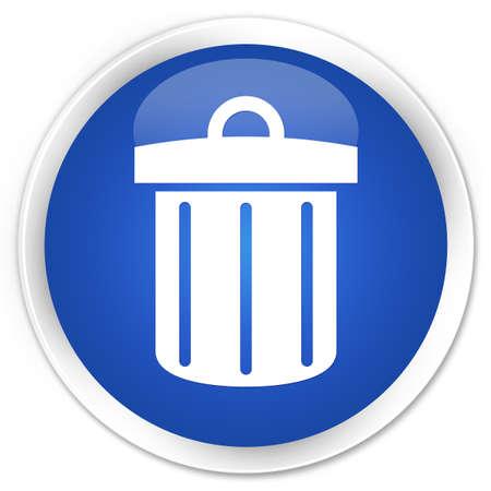 blue bin: Recycle bin icon blue glossy round button