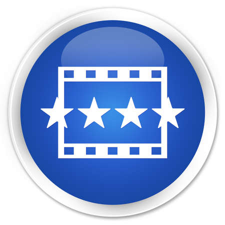 reviews: Movie reviews icon blue glossy round button Stock Photo