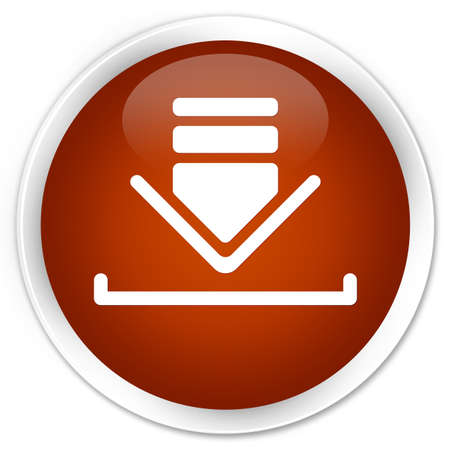 down load: Download icon brown glossy round button Stock Photo