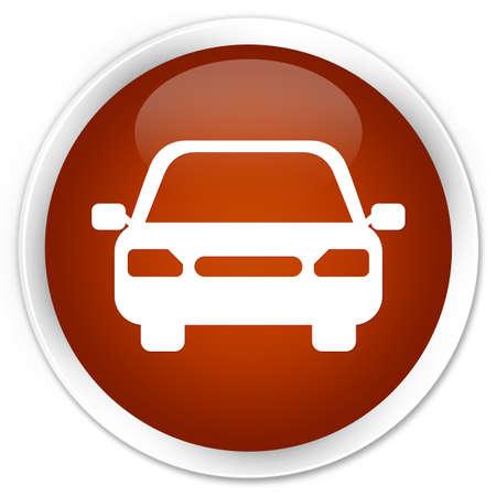 fare: Car icon brown glossy round button