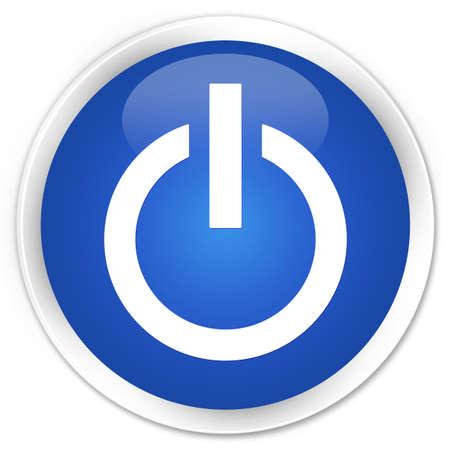 shutdown shut down: Power icon blue glossy round button Stock Photo