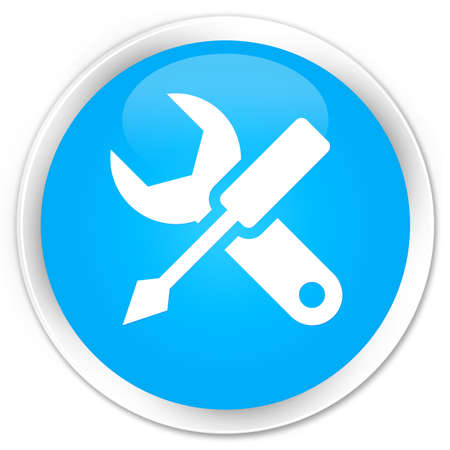 control tools: Settings icon cyan blue glossy round button Stock Photo