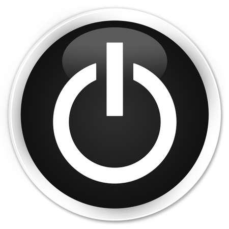 shut off: Power icon black glossy round button Stock Photo