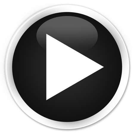 black button: Play icon black glossy round button