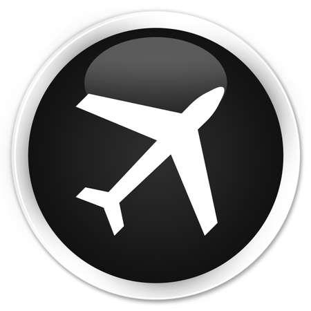 airway: Plane icon black glossy round button