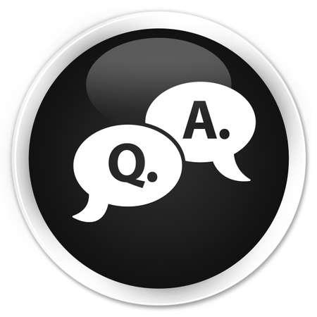 black button: Question answer bubble icon black glossy round button