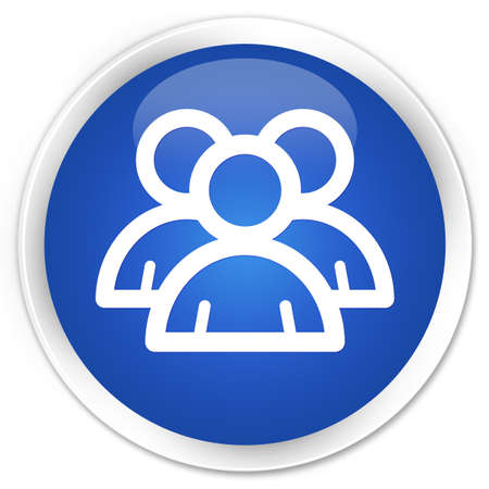 blue book: Group icon blue glossy round button