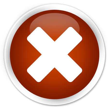 abort: Cancel icon brown glossy round button Stock Photo