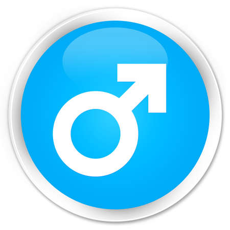 homosexual sex: Male sign icon cyan blue glossy round button