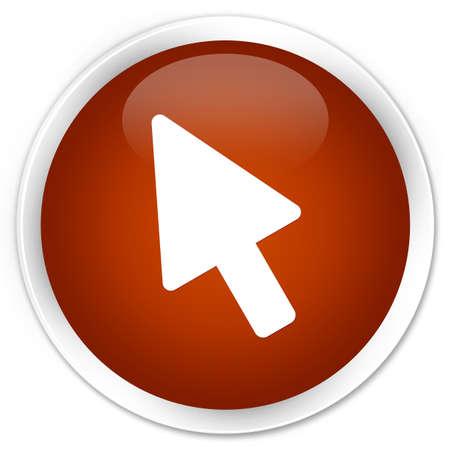 cursor: Cursor icon brown glossy round button