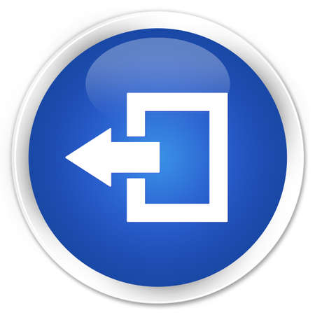 log out: Logout icon blue glossy round button Stock Photo