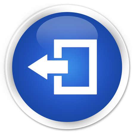 logout: Logout icon blue glossy round button Stock Photo