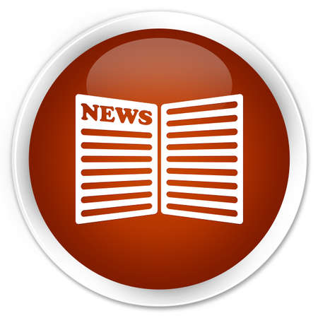 current events: Newspaper icon brown glossy round button Stock Photo
