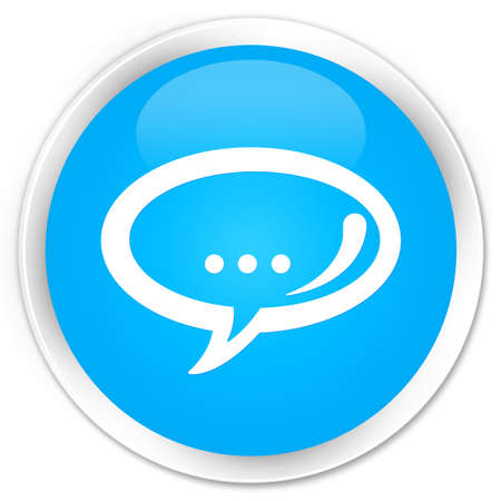chat icon: Chat icon cyan blue glossy round button Stock Photo