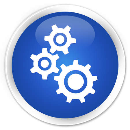 button glossy: Gears icon blue glossy round button