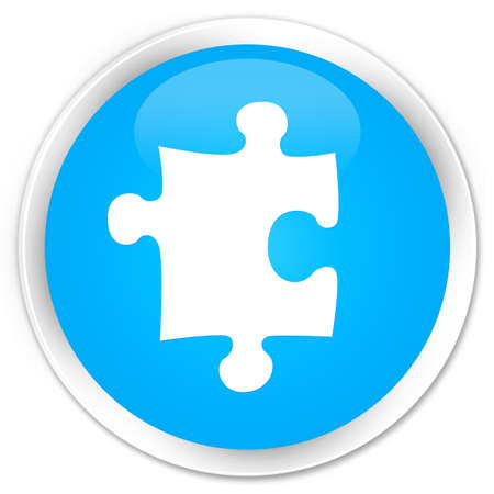 plugin: Puzzle icon cyan blue glossy round button