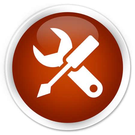 modificar: Configuración de iconos de botón redondo de color marrón brillante Foto de archivo
