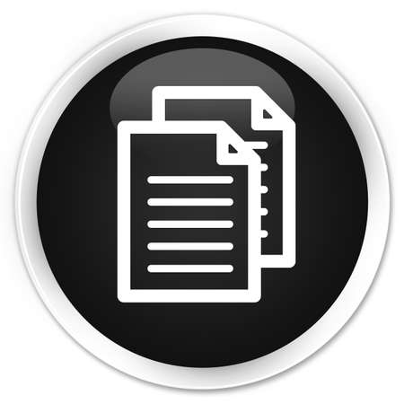 term and conditions: Documents icon black glossy round button