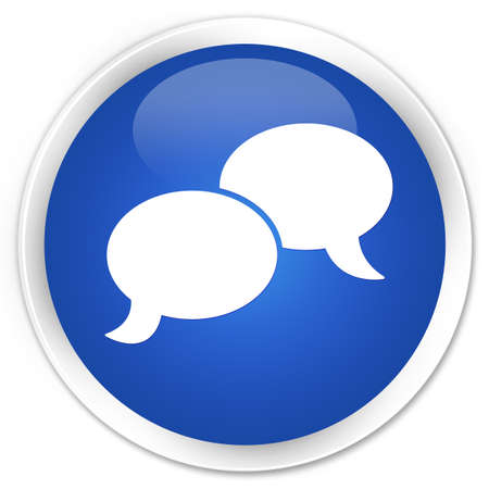 chat bubble icon: Chat bubble icon blue glossy round button