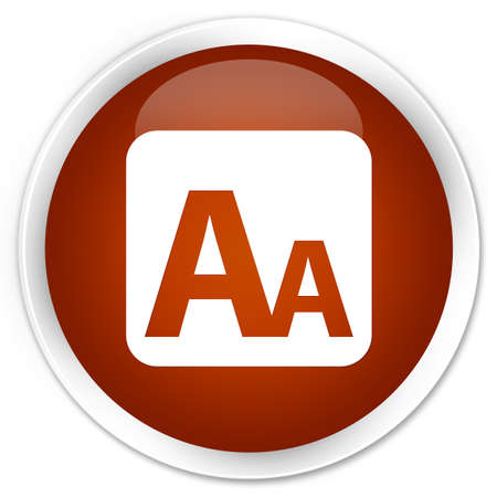 box size: Font size box icon brown glossy round button