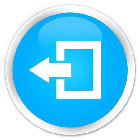 logout: Logout icon cyan blue glossy round button
