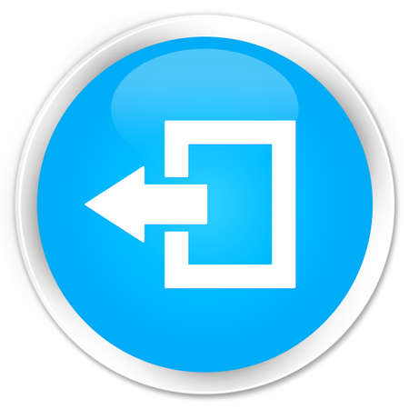 shut out: Logout icon cyan blue glossy round button