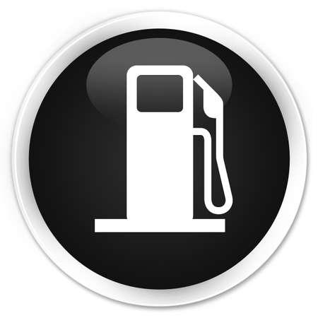 Fuel dispenser icon black glossy round button Stock Photo