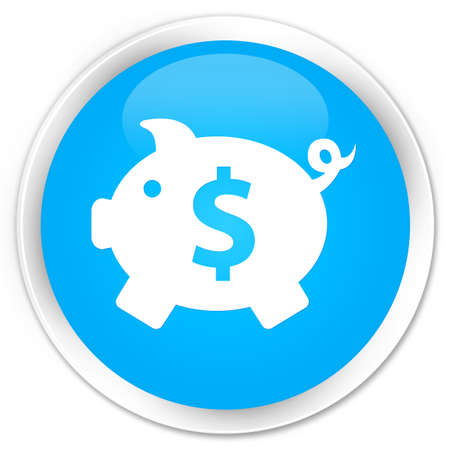 economical: Piggy bank (dollar sign) icon cyan blue glossy round button