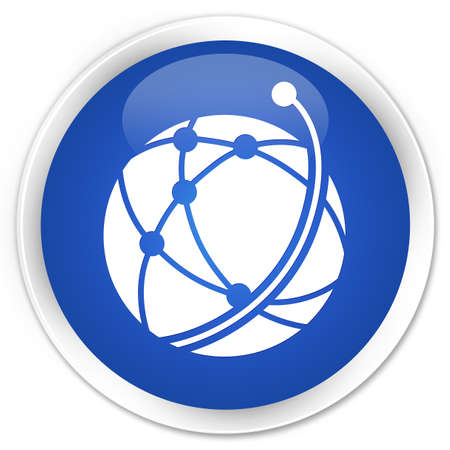 glossy button: Global network icon blue glossy round button