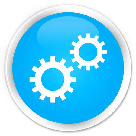 preference: Process icon cyan blue glossy round button Stock Photo