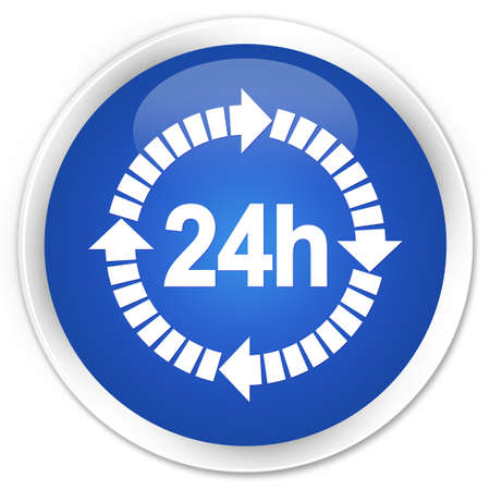 twenty four hours: 24 hours delivery icon blue glossy round button