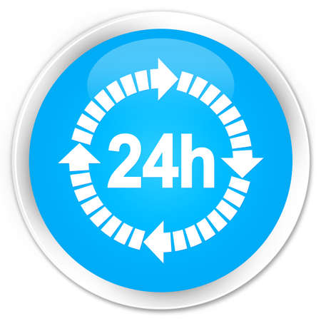 24 hours: 24 hours delivery icon cyan blue glossy round button