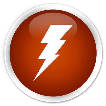 3d lightning: Electricity icon brown glossy round button