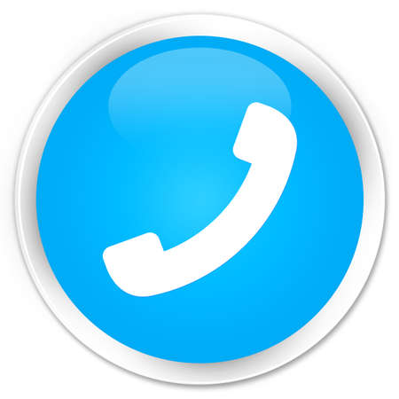 phone button: Phone icon cyan blue glossy round button Stock Photo