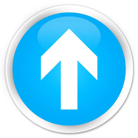 upload: Upload arrow icon cyan blue glossy round button
