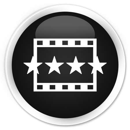 reviews: Movie reviews icon black glossy round button Stock Photo