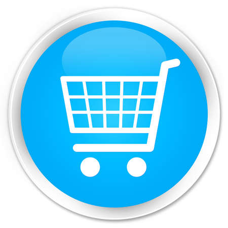 round: Ecommerce icon cyan blue glossy round button