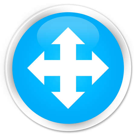move: Move icon cyan blue glossy round button Stock Photo