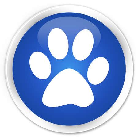pawprint: Animal footprint icon blue glossy round button Stock Photo