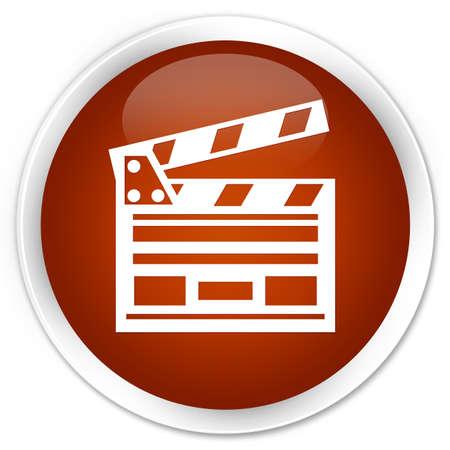 Cinema clip icon brown glossy round button
